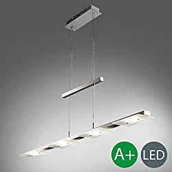 Lámpara colgante metal y cristal auténtico LED 4x4,5W I regulable en altura I Color níquel mate I luz incluido platina 1600lm 3000K I IP20