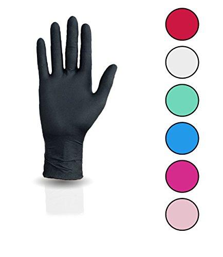 100 Stück Nitril Einweghandschuhe, Einmalhandschuhe puderfreie und unsterile Kochhandschuhe Tättowierhandschuhe Tattoo Handschuhe (schwarz, S)