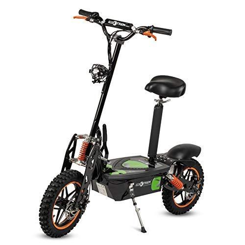Aspide - Patinete/Scooter eléctrico dos ruedas, con sillín, plegable, luz LED frontal, motor 2000W, velocidad hasta 45-50Km/h, autonomía hasta 25-30Km. Ideal para paseos urbanos. Color negro-naranja.