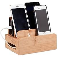 Relaxdays Bambus Ladestation, Schreibtisch Handyhalter f. 6 Geräte, Holz Kabelbox f. Ordnung, HBT 9 x 17 x 13 cm, natur