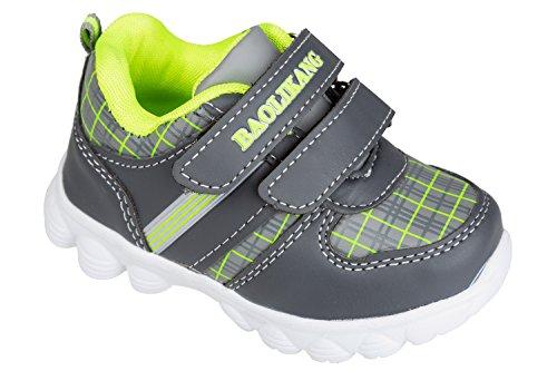 GIBRA Kinder Sportschuhe, sehr leicht, grau/neongrün, Gr. 26-31 grau/neongrün