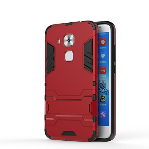 YHUISEN 2 In 1 Eisen Armor Tough Style Hybrid Dual Layer Rüstung Defender PC + TPU Schützende Hard Case mit Ständer Shockproof Fall Für Huawei Maimang 5 / G9 Plus ( Color : Blue ) Red