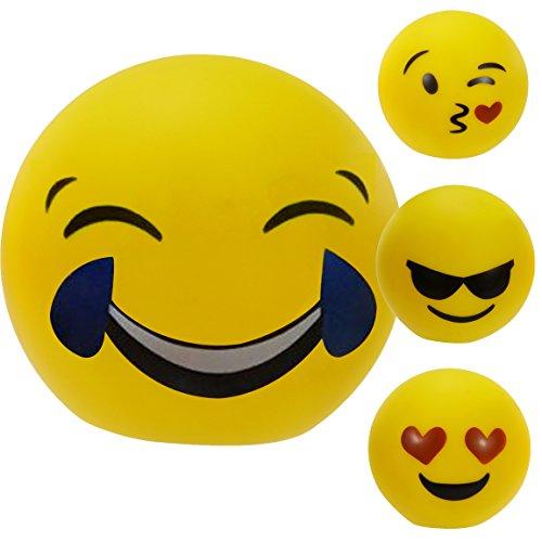 Bada Bing LED Deko Kugel Emoji groß Ø 14 cm süss Emotionen Smiley 4 fach sortiert