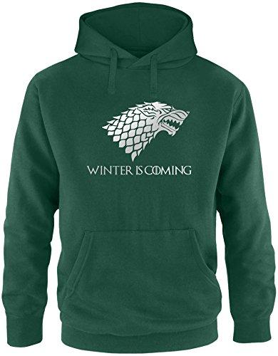 EZYshirt® Game of Thrones | Winter is coming | Schattenwolf Herren Hoodie Dunkelgrün/ Silber