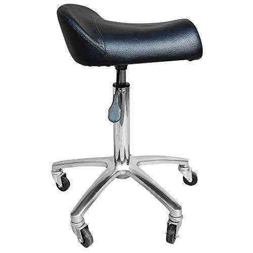 VAKON SALON - Arbeitshocker mit breitem Sitz auf Rollen - höhenverstellbarer Drehhocker, Rollhocker, Praxishocker, Bürohocker