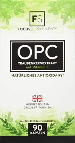 OPC Traubenkernextrakt Kapseln Hochdosiert - 600 mg (90 vegane Kapseln), OPC-Gehalt von 70 % pro Kapsel, mit Vitamin C, stärkt das Immunsystem – Aus ISO-zertifizierten Betrieben (1 Flasche)