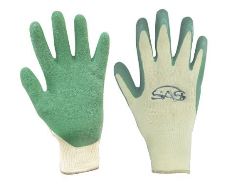 SAS Safety 6638 Cotton/Poly Knit with Green Latex Coated Palm Gloves, Large by SAS Safety Corp. -