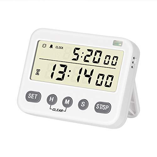 BizeoRade Digitaler Küchentimer Magnetisch mit Stoppuhr Funktion, Stummschaltung Countdown Vibrierende Erinnerung Einstellbar Volumen Großem LCD Display ideal zum Kochen Backen Sport Studieren usw.