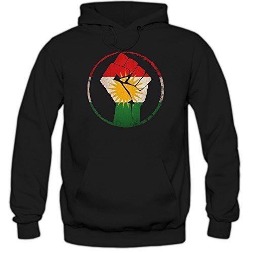 Shirt Happenz Kurden #1 Premiumhoodie Herren Flagge Kurdistan Türkei Syrien Iran Irak Kapuzenpullover, Farbe:Schwarz;Größe:S