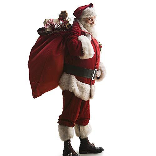 XIADE Herren Weihnachtsmann 10 Teilig Weiche Samt Kostüm Weihnachtsmaskerade Weihnachtsmann Cosplay Kostüm