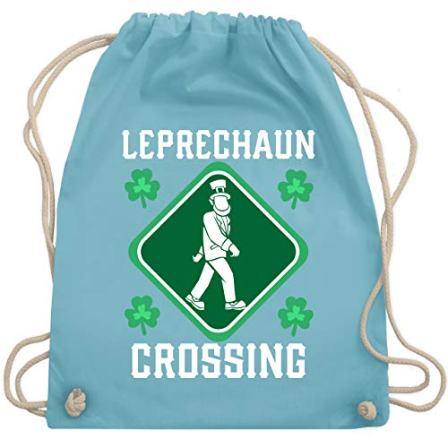 St. Patricks Day - Leprechaun Crossing - Unisize - Hellblau - WM110 - Turnbeutel & Gym Bag