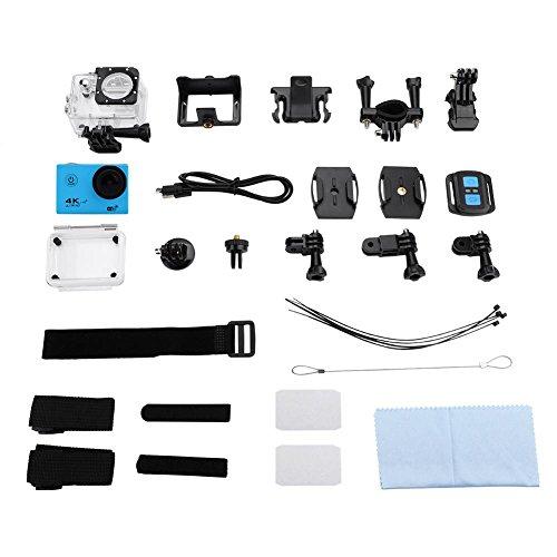 Acouto Aktions Kamera 16M 4K 2.4G Wifi imprägniern Sport-Nocken 170 ° Weitwinkel mit wasserdichtem Gehäuse-Kasten und Fernsteuerungszusatz-Ausrüstungen<br/>(Blau)