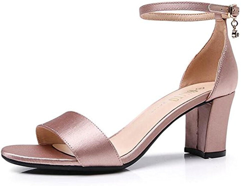 gracosy Sandalias de Cuero para Mujer Zapatos de Tacón Grueso Verano Correa de Tobillo Peep Toe Vestido Hecho... -