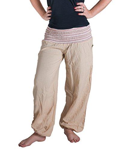 Vishes - Alternative Bekleidung - Sommer Chino Haremshose aus Baumwolle mit super elastischem Bund - handgewebt (Einheitsgröße 32 bis 42, - Sommer Festival Kostüm