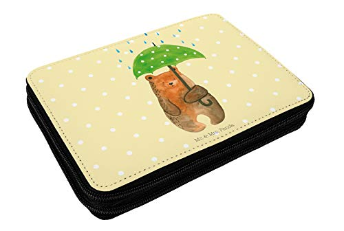 Mr. & Mrs. Panda Schule, Stiftetasche, Federmappe Bär mit Regenschirm - Farbe Gelb Pastell