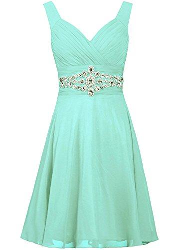 Azbro Women's V Neck Sleeveless Rhinestone Bridesmaid Dress Light Green