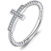 d517945bb227 JewelryPalace Anillo Cruz adornado Circonita en plata de ley 925