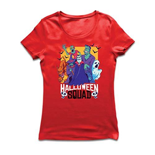 lepni.me Frauen T-Shirt Halloween Trupp-Vampir, Geist, Werwolf, Hexe, Zombie (X-Large Rot Mehrfarben)