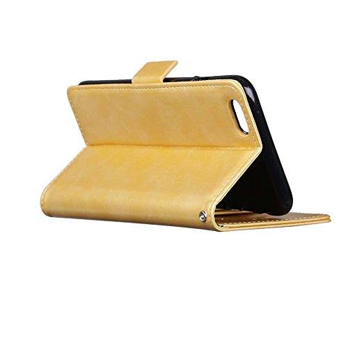 iPhone Case Cover Normaler Farben-Folio-Standplatz-Mappen-Kasten mit 3 Karten-1 Bargeldschlitz-seitlichen magnetischen Wölbungs-Muster-Kasten für IPhone 6S Plus ( Color : Brown , Size : IPhone 6S Plus Gold