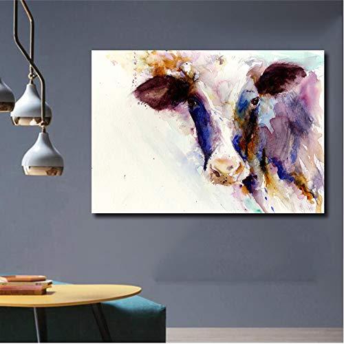 RTCKF Acquerello Arte Soggiorno Stampa Poster Moderna Immagine Animale Decorazione Foto Mucca Blu Arte murale Pittura su Tela (Senza Cornice) A2 60x80CM