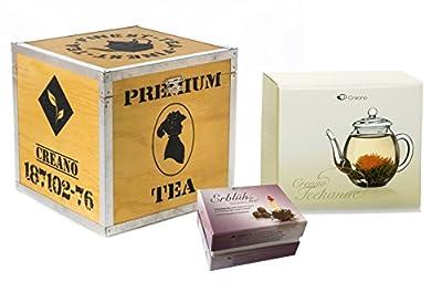 Mix de fleurs de thé Creano - in coffret cadeau déco bois « Floraison » -avec théière en verre | Thé noir 6 thés fleuris en (3 sortes différentes de roses de thé)
