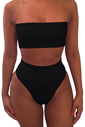 Viottisetet Bandeau Top Damen Bikini Set High Waist Badeanzug mit Abnehmbare Träger