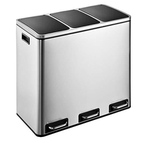 SVITA Treteimer 30 Liter (2x15L) oder 54 Liter (3x18L) Abfalleimer Mülleimer Design Mülltrennung Edelstahl (54 Liter (3x18L))