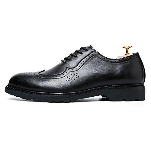 Hochwertige Herren-Business-Schuhe, spitze Ledermannschuhe Shibu Locke Spitze flache Schuhe geschnitzt Black