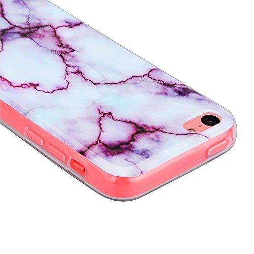 iPhone 5 / 5S / SE Coque, Yokata Gradient Couleur Marbre Gemme Design Case Housse Étui Flexible Soft Doux TPU Silicone Backcover Ultra Mince Hybrid Coque + 1*Stylet - Pourpre Pourpre