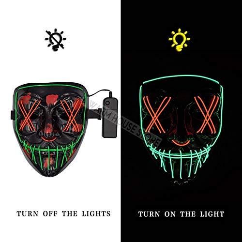 WSJMIANJU Halloween-Maske Halloween-Maske LED-Maske Leuchtende Party-Masken Neon Maska Cosplay-Wimperntusche Horror-Wimperntuschen Glow In Dark Masque V für Vendettagrün und rot -