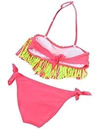 4816b3a36a99 Xinantime Bikini Bambina Due Pezzi Nappa Tinta Unita Costumi da Bagno  Bambini Fare Un Nodo Fascia