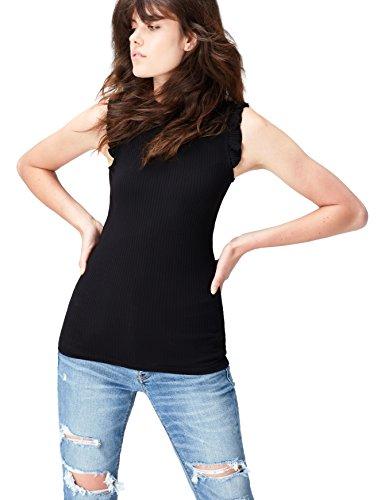 FIND Top Damen Gerippt mit Rüschen an Den Schultern und Kragen, Schwarz (Black), 42 (Herstellergröße: X-Large) (Rüschen Schulter Top Eine)