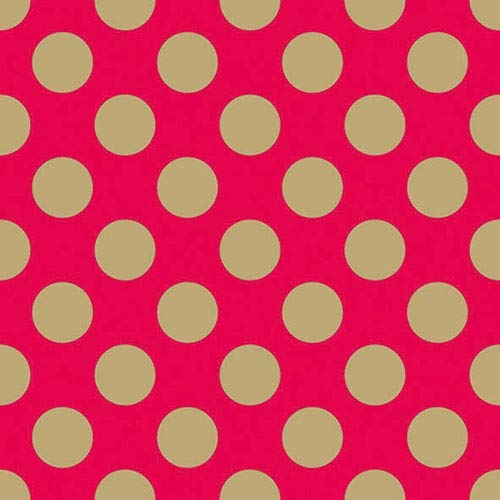 Ambiente - Pack de 20 servilletas de Papel de 3 Capas, tamaño del Almuerzo, 33 x 33 cm, diseño de Lunares, Color Rojo y Dorado