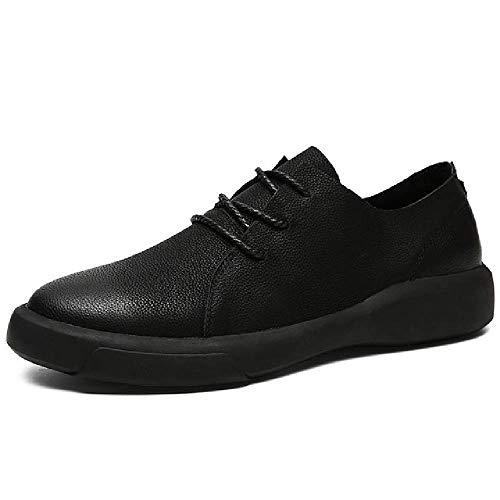 DYSY Echtes Leder Schuhe Männer Leder Turnschuhe Wohnungen Design Stil Männer Schuhe Loafers Lace Up Walking Casual Schuhe Männer Große Größe 37-47 Gelb Schwarzes