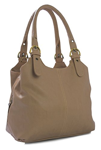 Big Handbag Shop, Borsa a mano donna Marrone (Mittlere Taupe - Kontrastfarbigen Nähten)