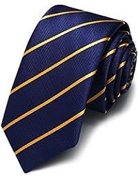 HXCMAN 5cm Azul Dorado rayas corbata estrecho diseño clásico 100% seda corbata hombres partido de todos partido negocios noche boda novio en caja de regalo