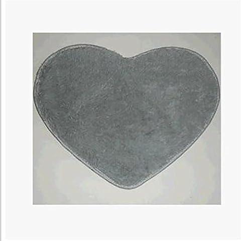 New day-Acorazonada sedoso alfombra dormitorios sala de estar mesa cabecera pelusas de la alfombra Linda alfombra en forma de corazón , silver , 70*80cm