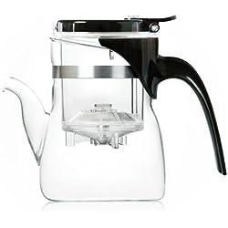Glas Teekannen edles Design/Teekanne Glas mit Infuser für Grüner Tee Zubereitung/Multi-Aufguss-Fähig (Teekanne 600 ml mit Tülle)