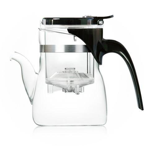 Glas Teekannen edles Design / Teekanne Glas mit Infuser für Grüner Tee Zubereitung / Multi-Aufguss-Fähig (Teekanne 600 ml mit Tülle)