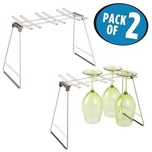 mDesign 2er-Set Weinglas Ständer – Abtropfgestell Metall – für jeweils bis zu 6 Weingläser...