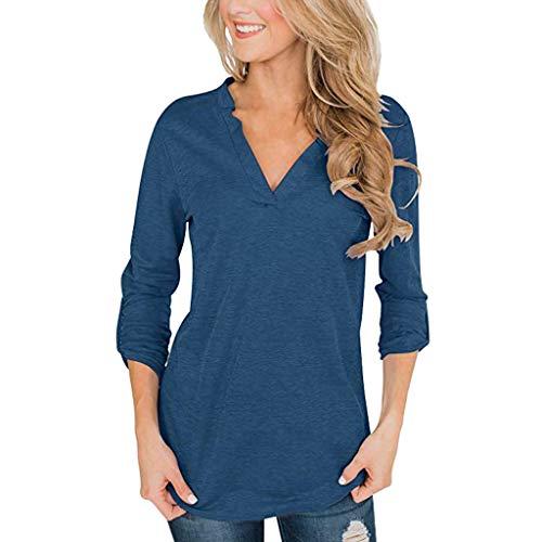 Ncenglings Damen T-Shirt Herbst Kleidung Mode Baumwolle Tunika Sexy Einfarbig Oberteile Freizeit V-Ausschnitt Sweatshirts Elegant Crimpen Blusen Schöne Bequem Tops Lose 3/4 Rollenhülse Hemd