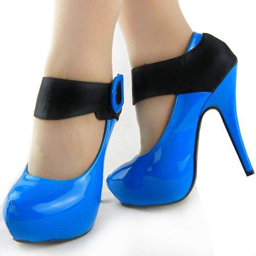 Show scarpe della pompa della piattaforma Story nuove signore di brevetto in raso nero con cinghietti, LF30405 Blu