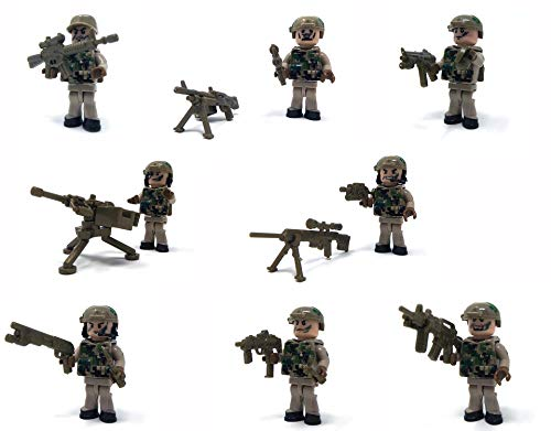 Modbrix 8 x Minifiguren US Army Navy Seals Soldaten Figuren inkl. MG Nest und Sandsack Stellung (Minifigur Lego Navy)