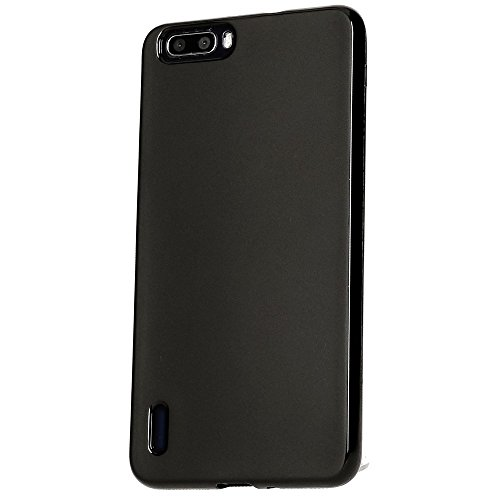 Huawei Honor 6 Plus Hülle Handyhülle von NICA, Ultra-Slim Silikon Case, Dünne Crystal Schutzhülle, Etui Handy-Tasche Back-Cover Bumper, softe TPU Gummihülle für Honor-6 Plus - Schwarz Matt Schwarz