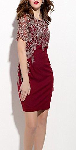 Smile YKK Rundhals Strickmuster Kurze Aermel Damen Elegante Minikleid Cocktailkleid Casual Kleid Weinrot