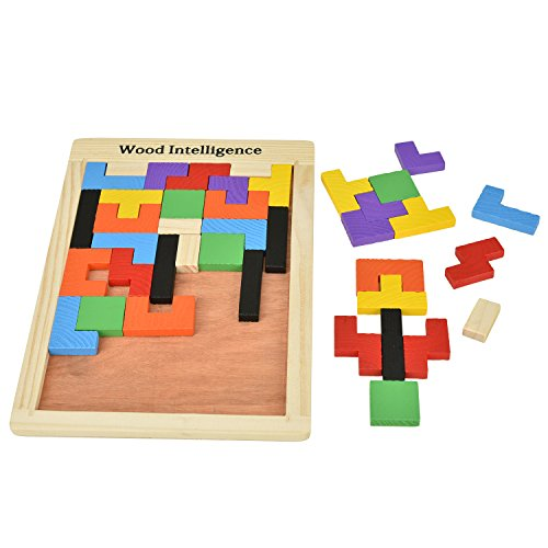 Willingood Holz Tetris Puzzle [40 Stücke,Muti-Farbe] Lernspielzeug Intelligenz Pädagigisches Spielzeug für Kinder ab 3 Jahre