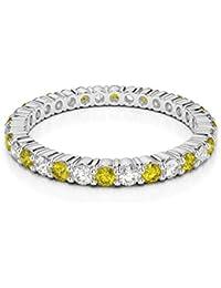 18KT oro blanco 0,40ct certificado g-H/VS corte redondo amarillo Sapphire y Diamond Full Eternity anillo agdr-1110