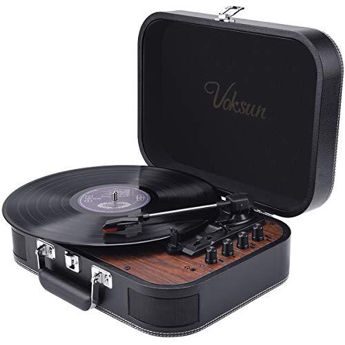 Platine Vinyle,VOKSUN Platine Vinyle à encodeur numérique Bluetooth Portable avec 3 Vitesses...