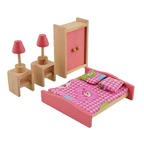 wdyjmall Holz Puppenhaus Möbel Set Spielzeug für Baby Kids Kinder–Doppelbett Nachttische Lampen Kleidung Closet Schlafzimmer