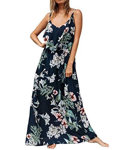 371247d2ece kenoce Damen Ärmellos Kleider Sommerkleid V Ausschnitt Blumendruck Elegant  Maxikleid Strandkleid Oversize Urloup Marine EU 38-40 Etikettgröße...